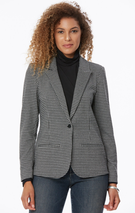 Real Life Style Must Have Comfortable Blazer for Work or Work From Home, NYDJ ponte blazer jacket in houndstooth