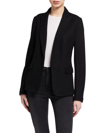 Real Life Style Must Have Comfortable Blazer for Work or Work From Home, Rag and Bone black soft wool lexington blazer