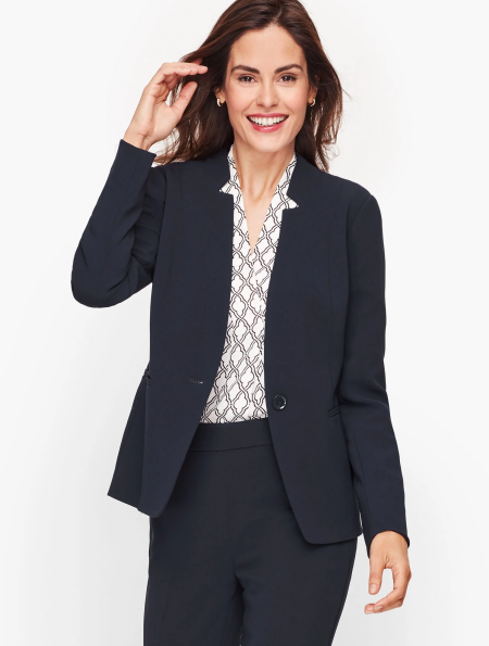 Real Life Style Must Have Comfortable Blazer for Work or Work From Home, Talbots easy travel jacket in navy