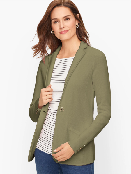Real Life Style Must Have Comfortable Blazer for Work or Work From Home, Talbots sweater jacket in olive