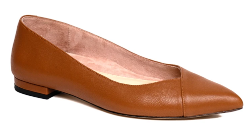 Comfortable and Fashionable dress shoes for work for Real Life Style, Ally caramel leather pointed flats
