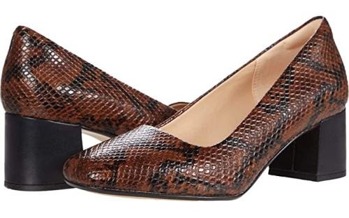 Comfortable and Fashionable dress shoes for work for Real Life Style, Clarks snake print brown and black block heel pumps
