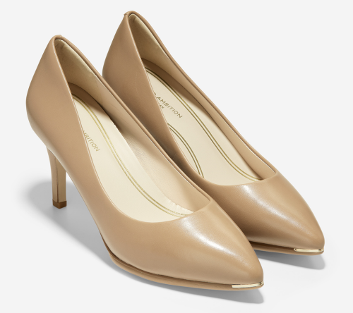 Comfortable and Fashionable dress shoes for work for Real Life Style, Cole Haan beige Grand Ambition Pumps