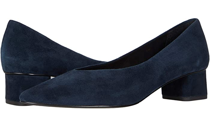 Comfortable and Fashionable dress shoes for work for Real Life Style,  Vaneli navy suede Liliet block heel pumps