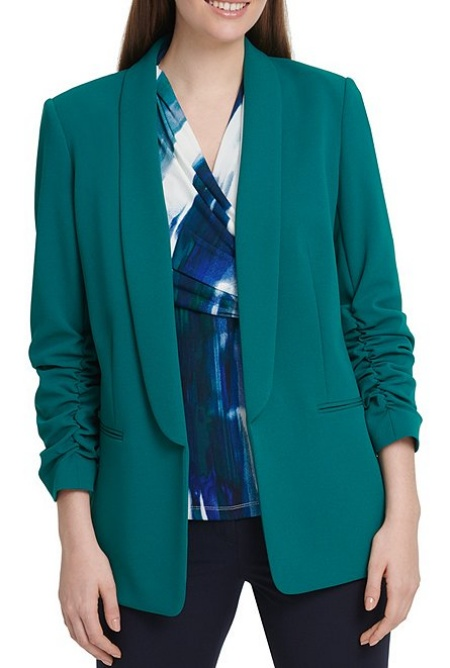 DKNY teal blazer from Dillards, a modern work wardrobe must-have, a power color for Real Life Style