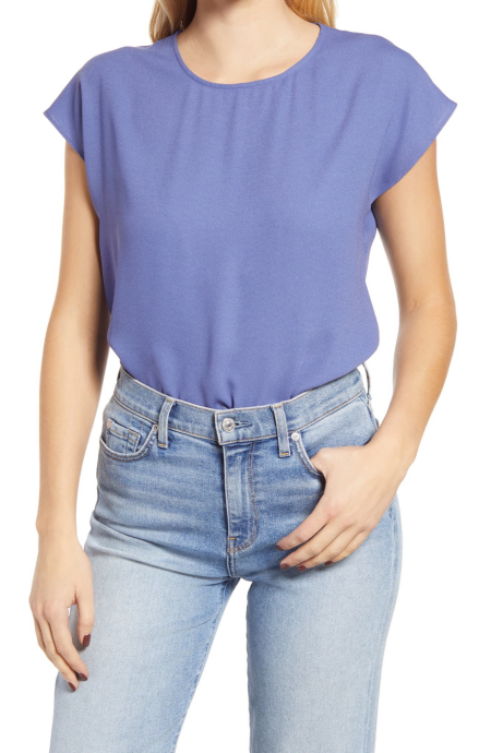 Halogen cap sleeve blouse in periwinkle blue, tops for work, a power color for real life style