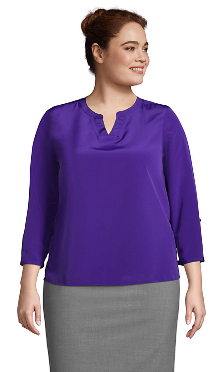 Lands End split neck blouse top in royal purple, a power color for Real Life Style