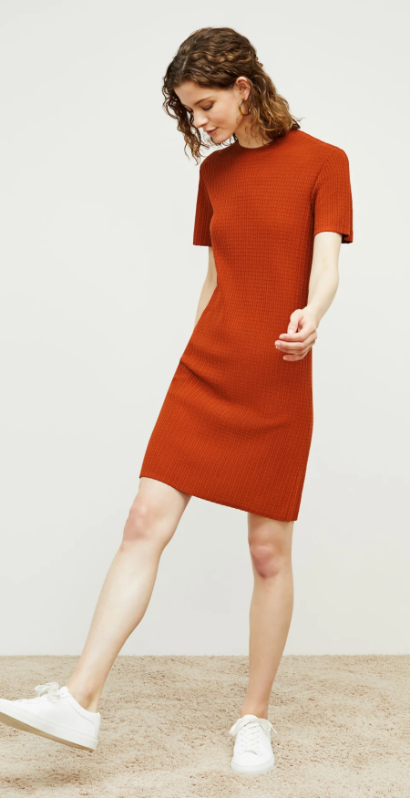 MM.LaFleur Hayden knit dress in rust orange, a power color for Real Life Style