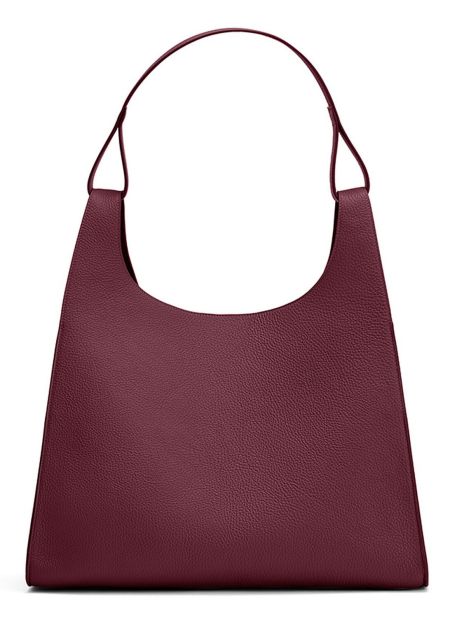 Real Life Style Work Tote Bag, Cuyana Burgundy Leather Oversized Double Loop Bag