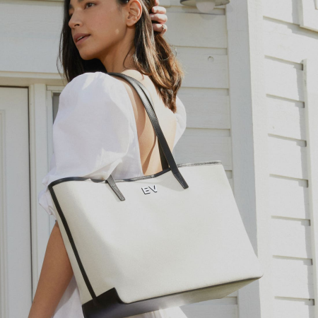 Real Life Style work tote bag, Leatherology canvas belmont tote with hand painted monogram