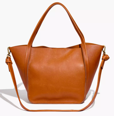 Real Life Style work tote bag, Madewell brown leather sydney tote