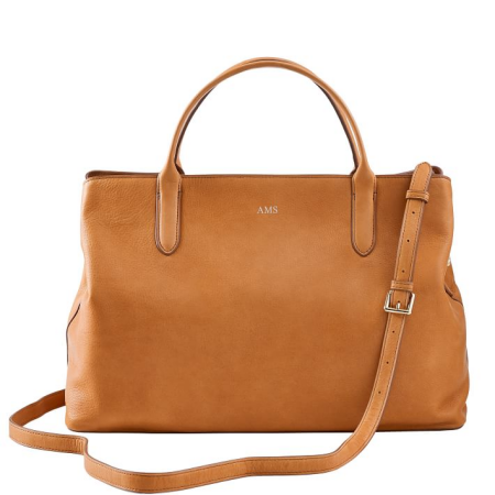 Real Life Style work tote bag, Mark and Graham Caroline Leather Handbag in caramel brown leather