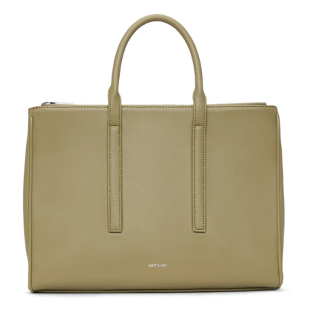 Real Life Style work tote bag, Mat and Nat Evelin Vegan Satchel in beige faux leather