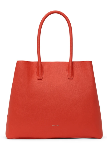 Real Life Style work tote bag, Mat and Nat Krista Satchel in red vegan faux leather