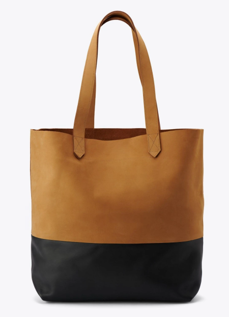 Real Life Style work tote bag, Nisolo Lori tote in two-tone brown and black leather