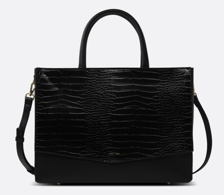 Real Life Style work tote bag, Pixie Mood Caitlin laptop tote in black vegan faux leather with croc stamp
