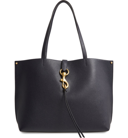 Real Life Style work tote bag, Rebecca Minkoff Megan leather laptop tote in navy leather