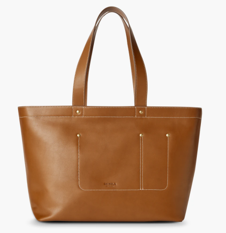Real Life Style work tote bag, Shinola pocket tote in brown leather