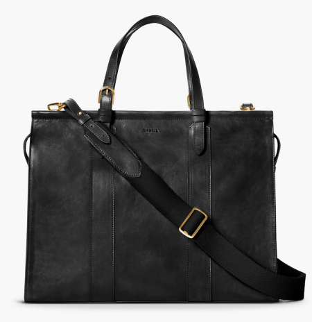 Real Life Style work tote bag, Shinola Sibley large satchel in black leather with crossbody strap