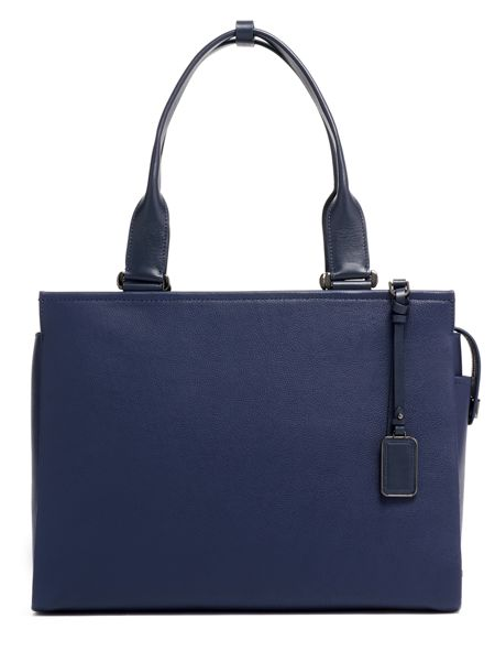 Real Life Style work tote bag, Tumi ella laptop tote in navy blue leather