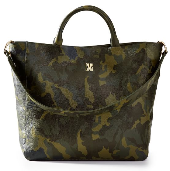 Real Life Style work tote bag, Mark and Graham camo tote with customizable strap