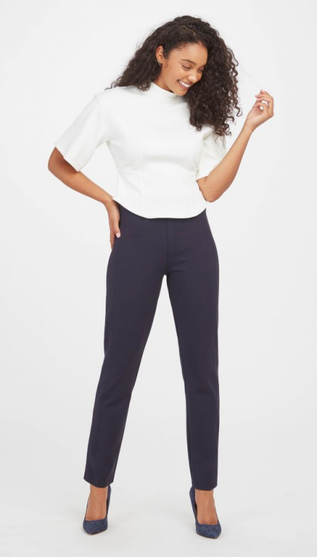 Spanx perfect navy work pants in plus-size and petite for Real Life Style