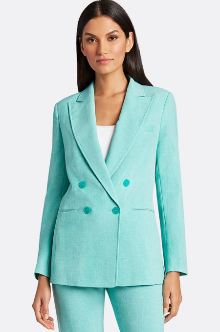 Tahari ASL chambray turquoise blue double breasted blazer, a power color for Real Life Style