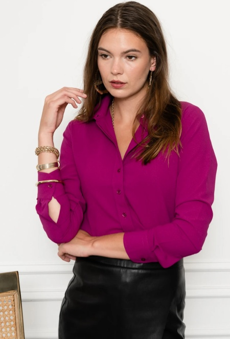 The Shirt by Rochelle Behrens signature collared shirt in plum, a power color for Real Life Style