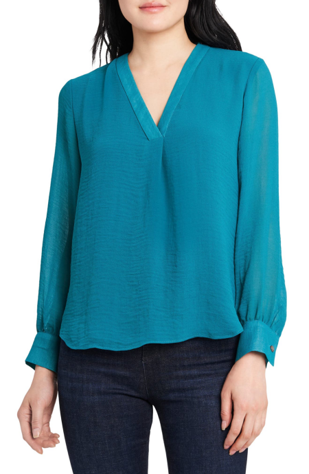 Vince Camuto satin rumple blouse teal power color for Real Life Style
