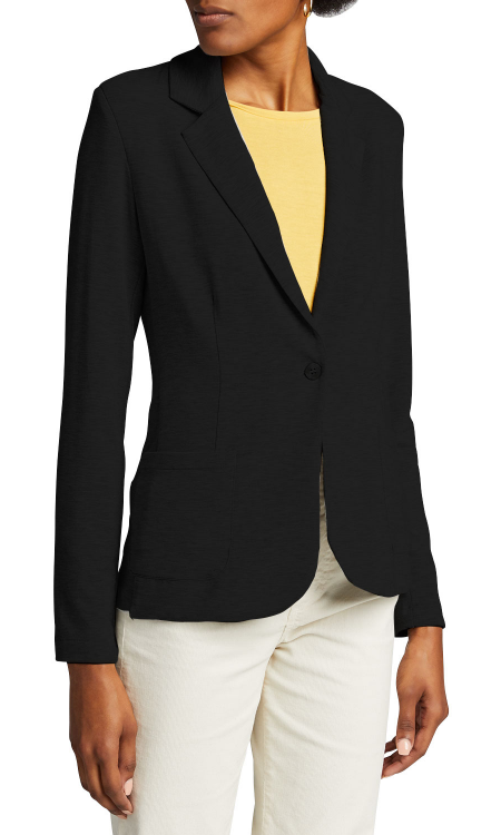 Real Life Style Must Have Comfortable Blazer for Work or Work From Home, Majestic french terry black blazer