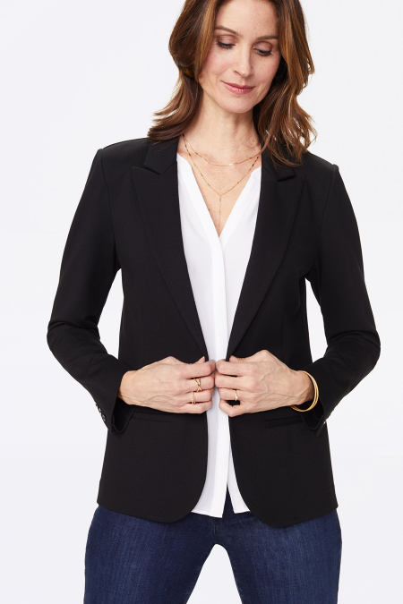 Real Life Style Must Have Comfortable Blazer for Work or Work From Home, NYDJ ponte blazer jacket in black