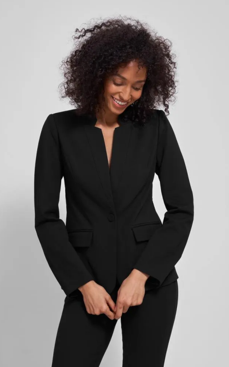 Real Life Style Must Have Comfortable Blazer for Work or Work From Home, Universal standard ponte miranda blazer in black